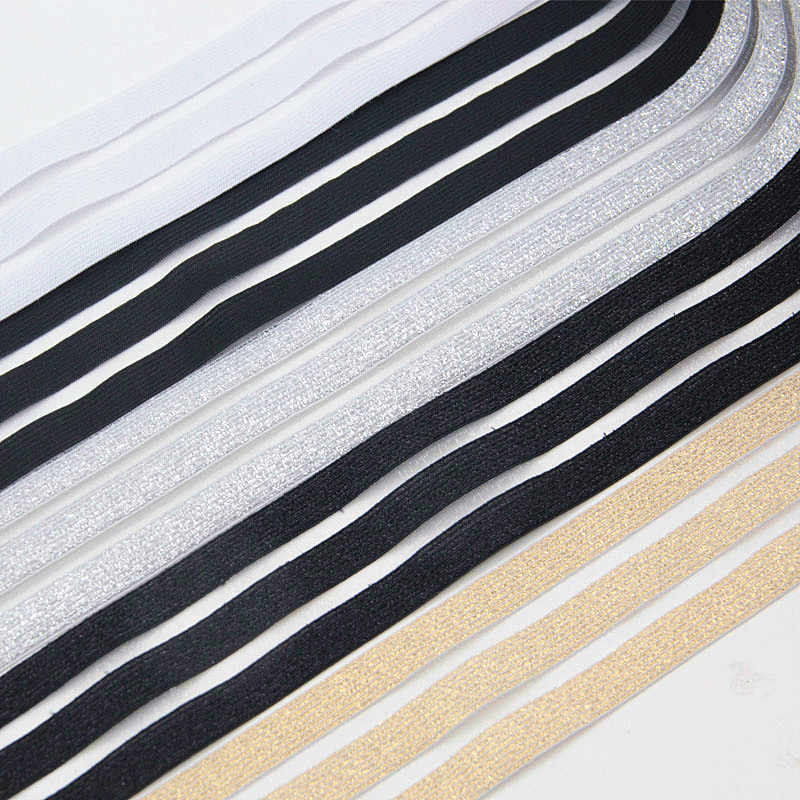 5cm 9cm Widened Silver Gold Breathable Stripe Syle Yarn Elastic Band,Clothes Sewing Decoration Stripe Elastic Band 5m/package