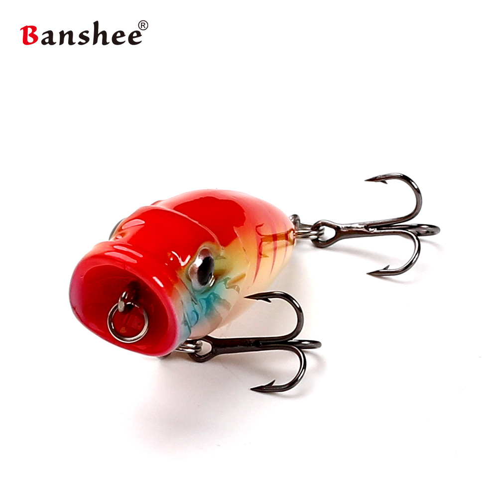 Banshee 45mm 3.5g Top Water CP Fishing lure Bait Hard Artificial Bait Mini popper for Small mouth Bass Trout Bluegill