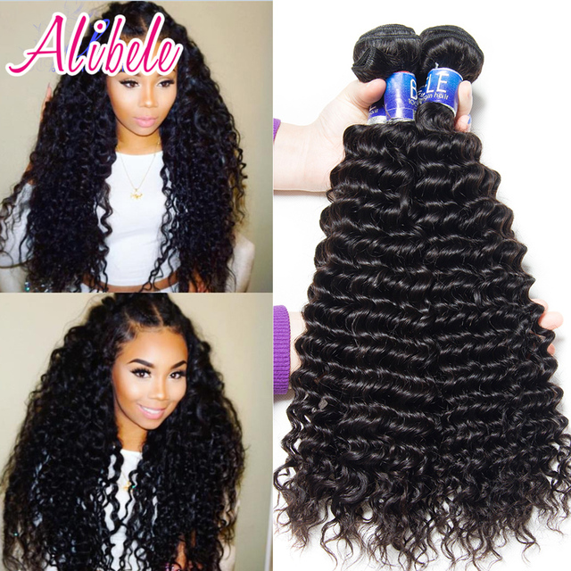 Ali Bele Virgin Hair Malaysian Curly 4 Bundles Deep Wave Weave Human