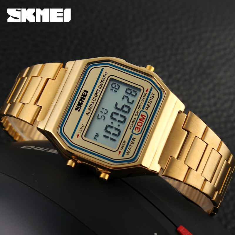 SKMEI Men LED Digital Stainless Steel Sports Watches Men 39 s Women Relogio Masculino Relojes Military Waterproof Wristwatches 2019 in Digital Watches from Watches