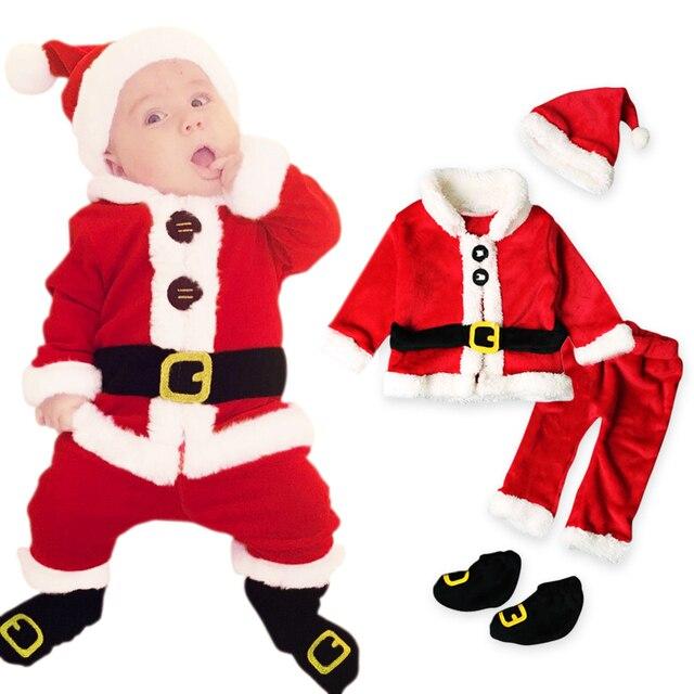 0c838a6b1b0ec Noël bébé enfants vêtements ensemble mignon bébé garçons père noël costume  pour 2018 noël chaud enfants