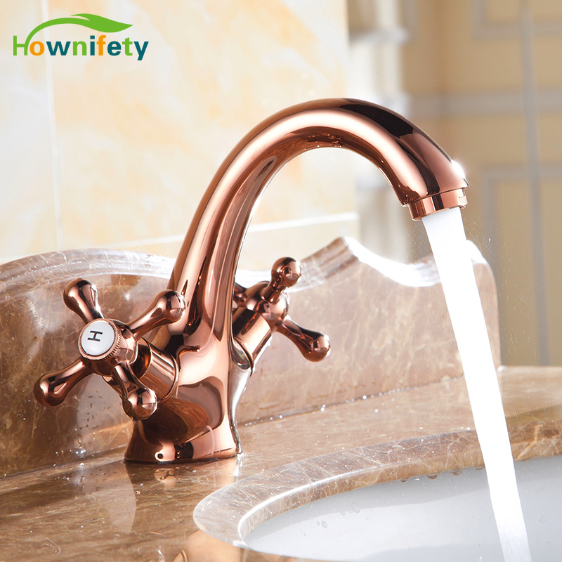 ФОТО Euro Style Rose Gold Plated Basin Faucet Dual Crystal Handles Mixer Tap