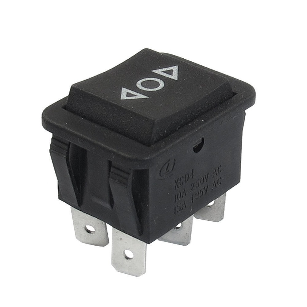 1 pcs 6 Pin AC 250V/10A 125V/15A DPDT Black Button On/Off/On Rocker Switch