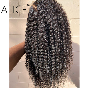 Image 3 - אליס מתולתל שיער טבעי פאות עם תינוק שיער 130% ברזילאי תחרה מול שיער טבעי פאות מראש קטף תחרה גופן פאות 13x4 אין רמי