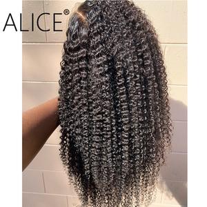 Image 3 - ALICE pelucas con minimechones de cabello humano rizado, 130% de encaje brasileño con frente, prearrancado, no remy, 13x4