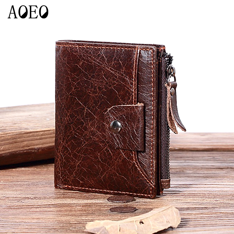AOEO Zipper coin purse holder for men wallets Genuine Leather Wallet small Mini perse mens fashion Thin Purse wallet male genuine leather mens wallet black hasp men purse with zipper coin pocket portfolio male short card holder vertical men wallets