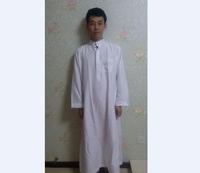 Frete grátis abaya thobe islâmico vestuário muçulmano para homens Manga Longa Branca para homens Jubba árabe islam Vestuário 62701