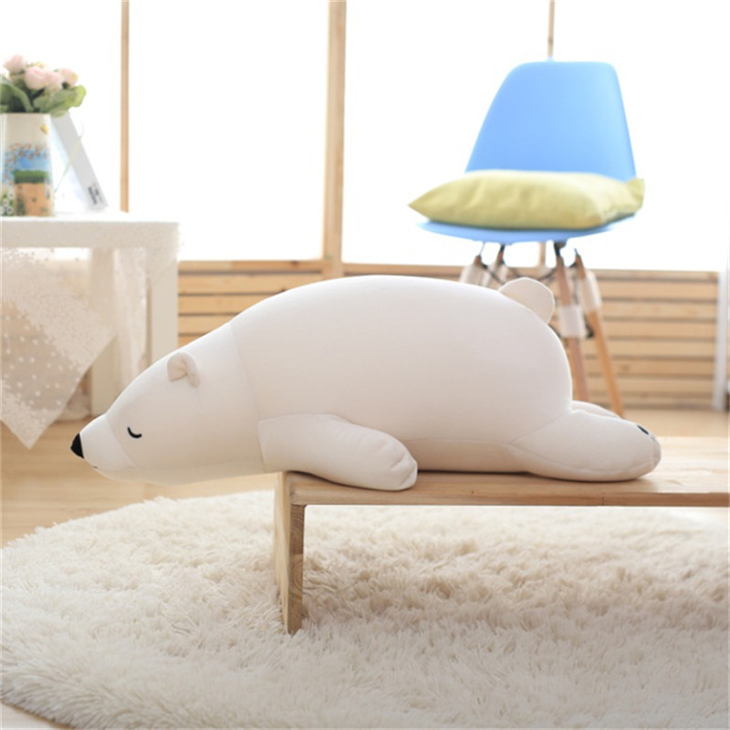 Polar Bear Soft Stuffed Toy Long pillow Nanoparticle Stuffed Doll Polar Bear Nano Doll Cute Plush Toy Gift For Lovers Kids big cute simulation polar bear toy handicraft lovely white polar bear doll gift about 31x18cm