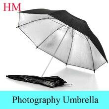 Tracking Number+ New photo umbrella size 33″83cm Photo Studio Flash Light Reflector Reflective Black Sliver Photography Umbrella