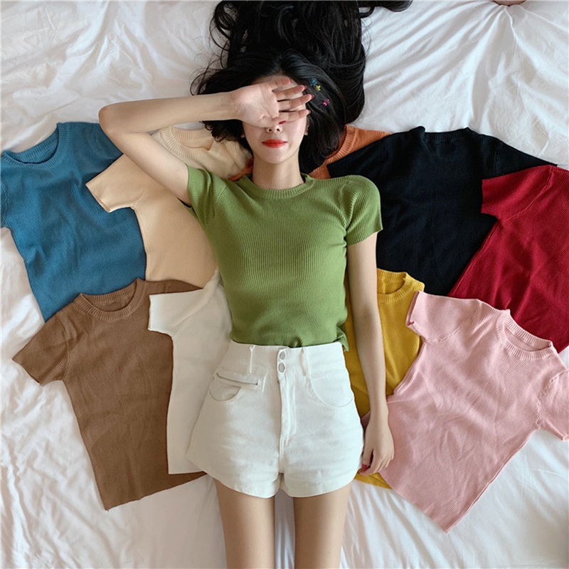 New Korean Version Of The O-neck Slim Short Thin Solid Color Wild Short-sleeved Knitted Bottoming Shirt Female корейский стиль