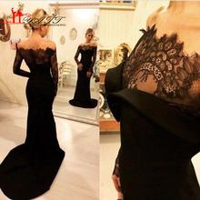Sexy Black Mermaid Abendkleid Langarm 2017 Arabisch Schulterfrei Abendkleider Abendkleider Spitze Abend Tragen Sweep Zug