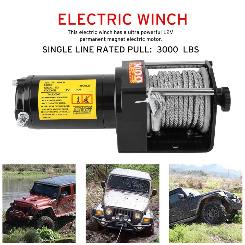 12V 3000LB Electric Winch Heavy Duty Recovery Electric ATV UTV Rope Cable Winch Wireless Remote Truck Boat Trailer Lifting Sling