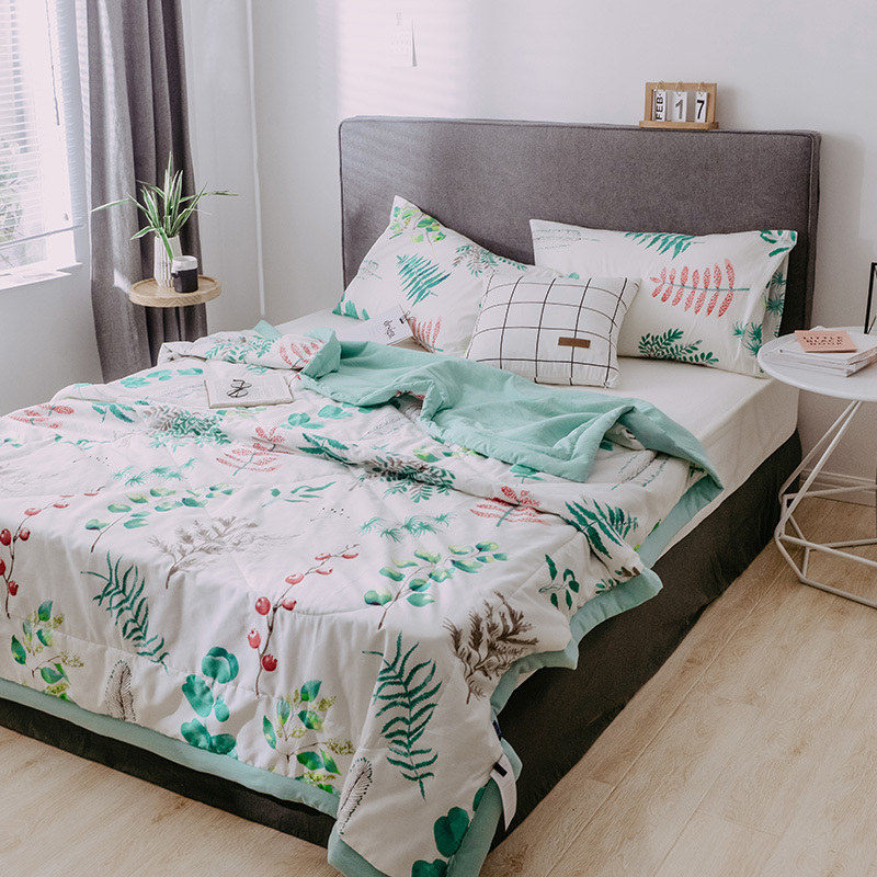 Leaf Print Bedspread Fashion Summer Quilt Duvet Blanket Comforter Soft Washable Air-conditioning Bed Cover Cotton Bedding
