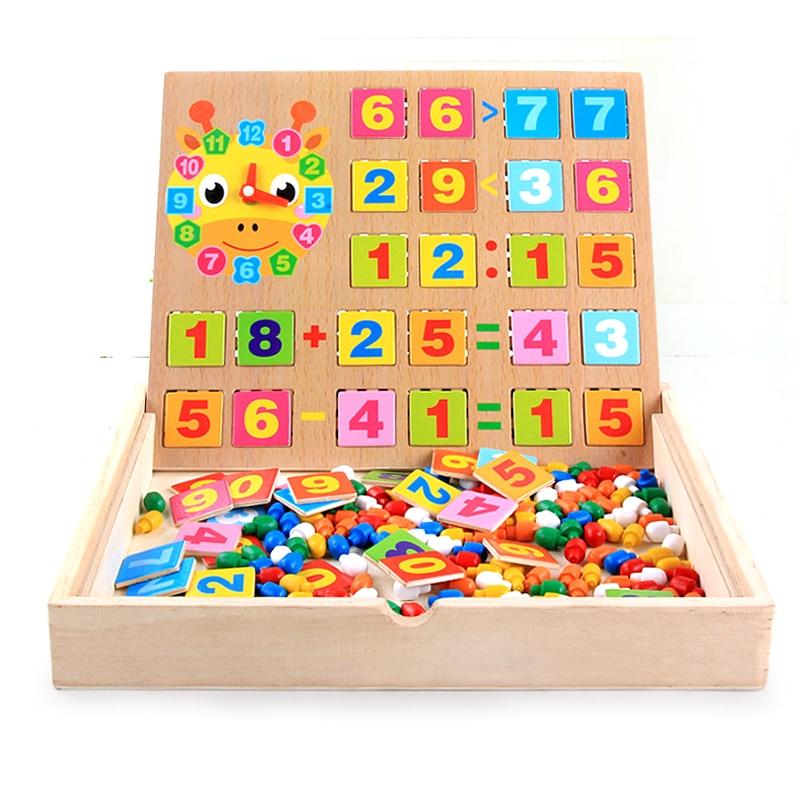 Multifunctional Kids Wooden Math Toys Clock Combination ...