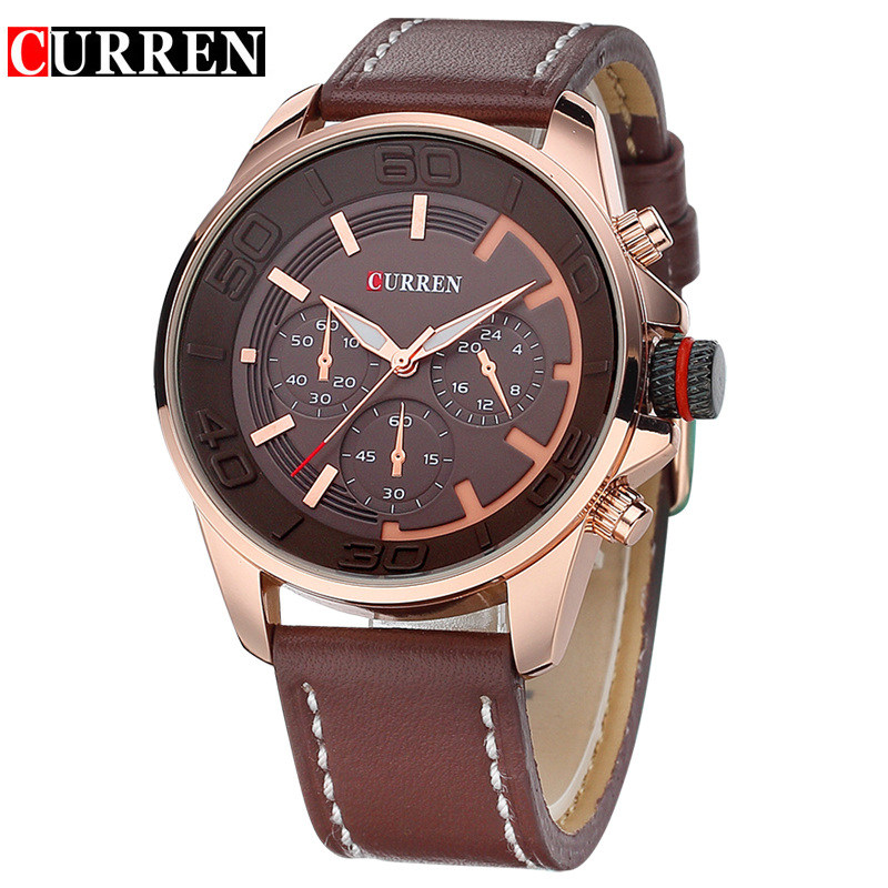 Relogio Masculino Fashion Montre Homme Reloj Hombre Quartz-Watch Curren Male Watch Leather Wristwatches Men Curren Watches 8187