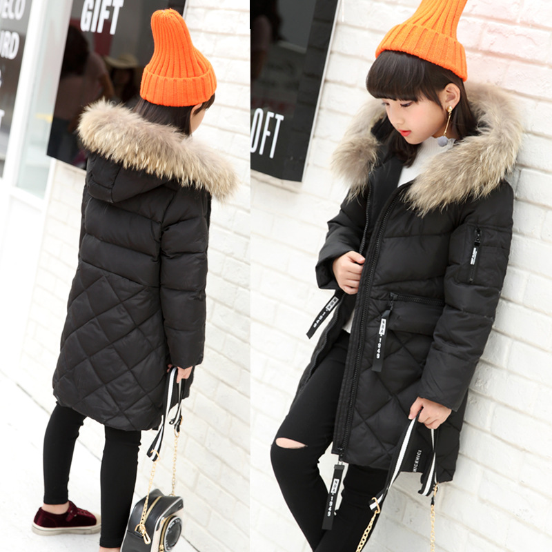 Girl Korean long thick warm down jacket winter for size 6 7 8 9 10 11 12 13 14 years child tide big fur collar outerwear coat children cowboy jacket coat hooded 2017 winter new tide thick cashmere long outerwear size 4 5 6 7 8 9 10 11 12 13 years girl