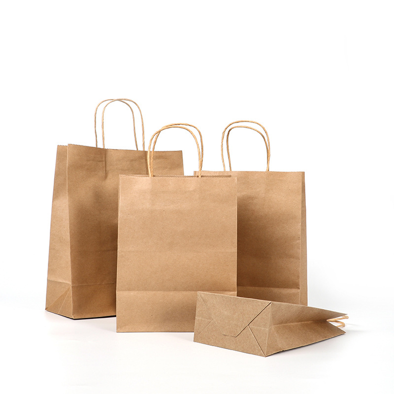 High Quality 10 Pcs Brown Kraft Paper Shopping Bag With Handles Bulk 7 Sizes Small Large Wedding Party Kraft Gift Bags Wholesale