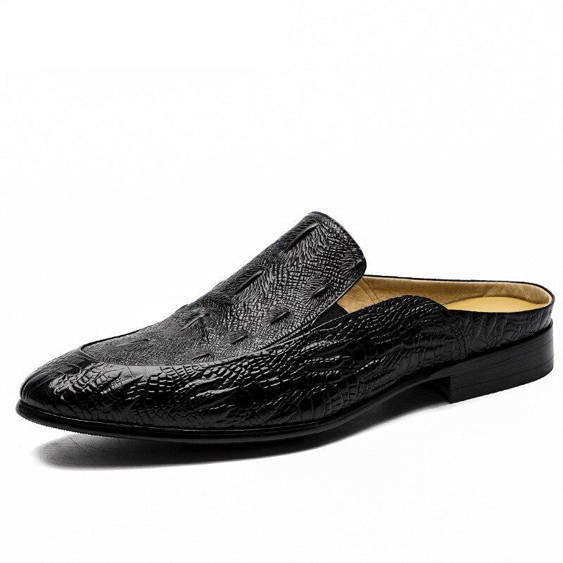 Degli Appartamenti degli uomini Marrone Nero Sandali di Grande Formato 38-46 di Modo Elegante Di Lusso Del Cuoio Genuino Casual Scarpe Da Uomo Zapatos HombreDegli Appartamenti degli uomini Marrone Nero Sandali di Grande Formato 38-46 di Modo Elegante Di Lusso Del Cuoio Genuino Casual Scarpe Da Uomo Zapatos Hombre