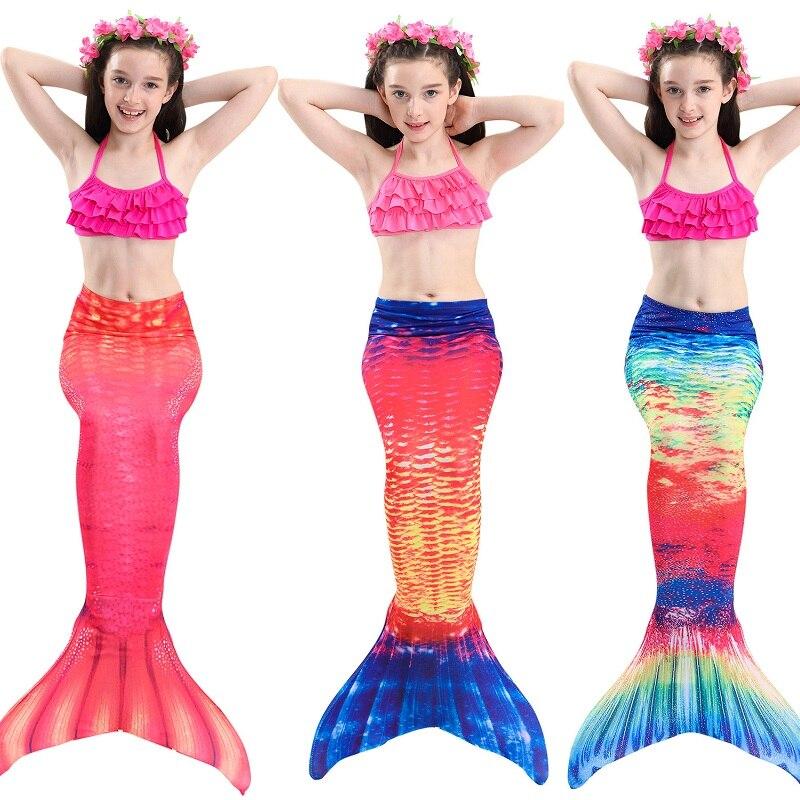 New Style Children Mermaid Tails with Monofin Kids Girls Cosplay Costumes Mermaid Tail Split Swimsuit Bikini Set