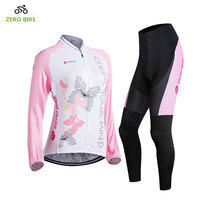 ZEROBIKE New High Quality Women's Cycling Clothing Sets Long Sleeves T Shirt Bicycle Jersey Pants Sports Wear Pink Ropa Ciclismo