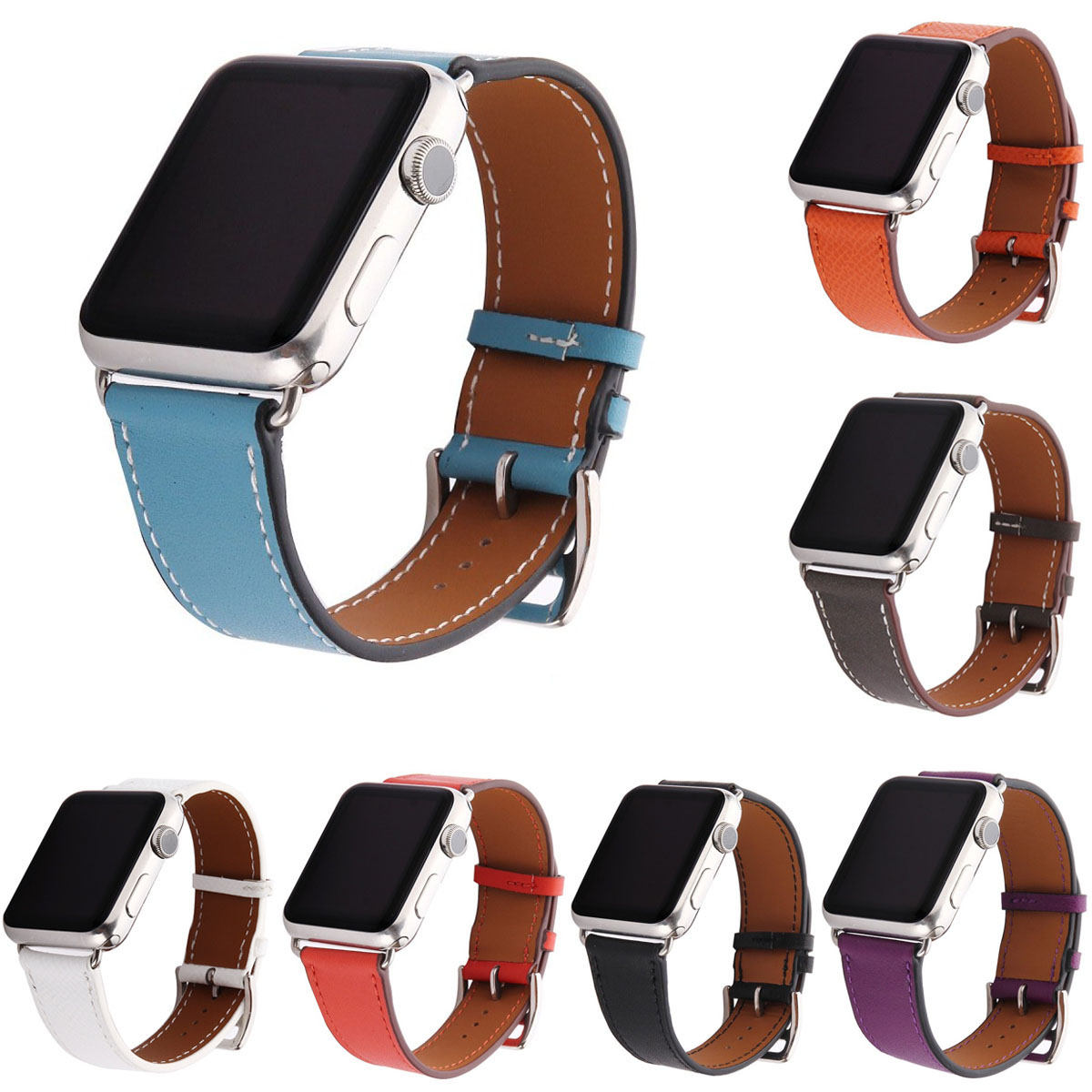 Single Tour Watch Strap for Apple Watch Band Series 1/2/3 Genuine Leather Watchbands for Apple iWatch 38mm 42mm Bracelet istrap black brown red france genuine calf leather single tour bracelet watch strap for iwatch apple watch band 38mm 42mm