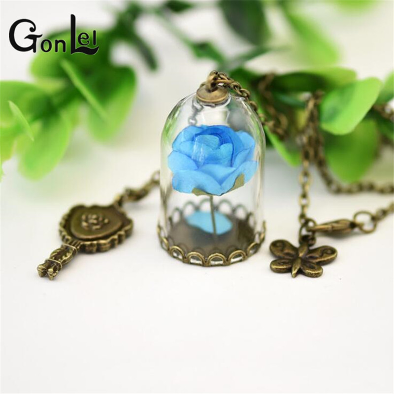 Action Figures Beauty and The Beast Enchanted Inspired Rose in a Glass Bottle copper Necklace Dome bronze mirro ZB-G262-71
