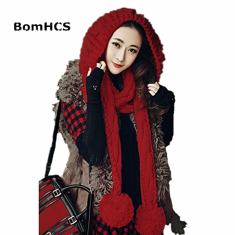 BomHCS Cute Winter Warm Beanie with Scarf 100% Handmade Knitted Hat Neckerchief bomhcs cute big flower beanie winter lady s warm crochet knitted hat 10
