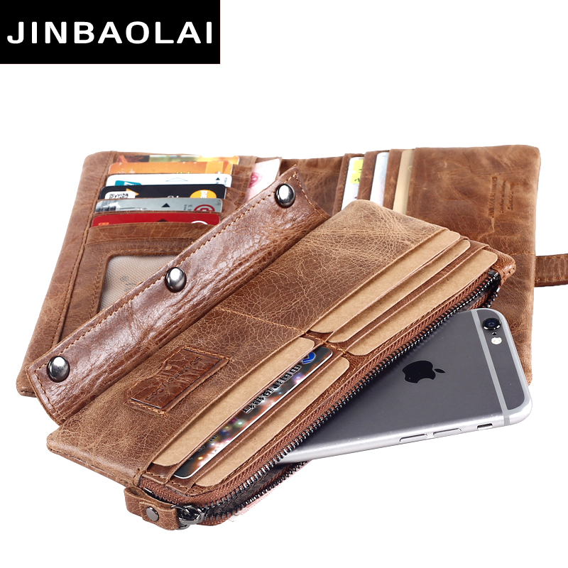 JINBAOLAI Genuine Crazy Horse Cowhide Leather Men Wallets Fashion Purse With Card Holder Vintage Long Wallet Clutch Wrist Bags in Wallets from Luggage Bags