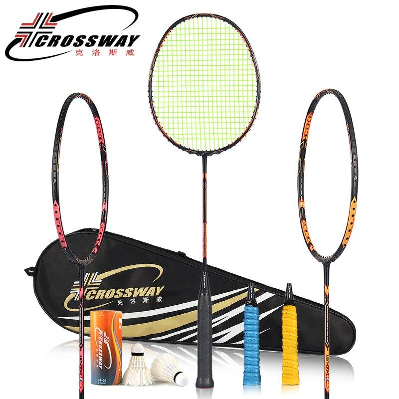 Raquette CROSSWAY raquette de Badminton 24-26LBS raquette de badminton en carbone avec sac de badminton