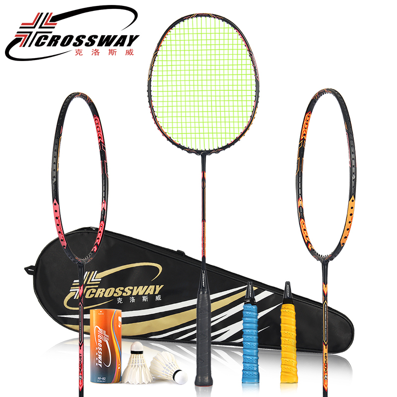racket CROSSWAY Badminton Racket 24-26LBS carbon badminton racket with badminton bag