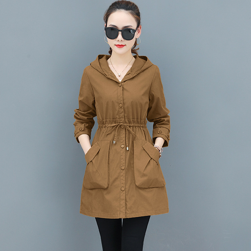 2019 New Female Windbreaker Coats Solid Large size Long Hooded Outerwear Loose Spring Autumn   Trench   Coat Women Tops AA666