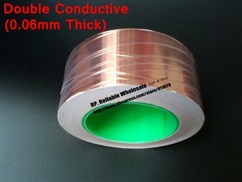 (0.06mm thick) 95mm*30M Single Sticky, Two Side Conductive Copper Foil Tape, EMI Masking fit for Transformer, Cellphone