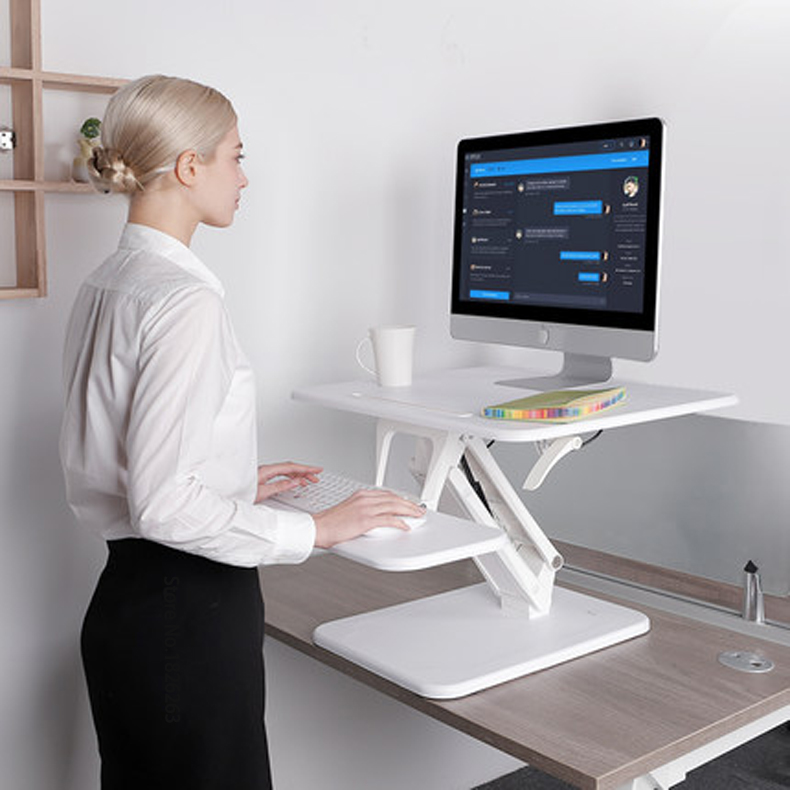 Loctek M3 Sit Stand bureau Riser facile hauteur réglable ordinateur bureau d'ordinateur portable avec support de clavier pliable 80x52 cm