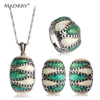 Blucome Square Jewelry Sets Necklace Earrings Ring Nature Shell Antique Silver Wedding Schmuck Sets Mujer Sweater