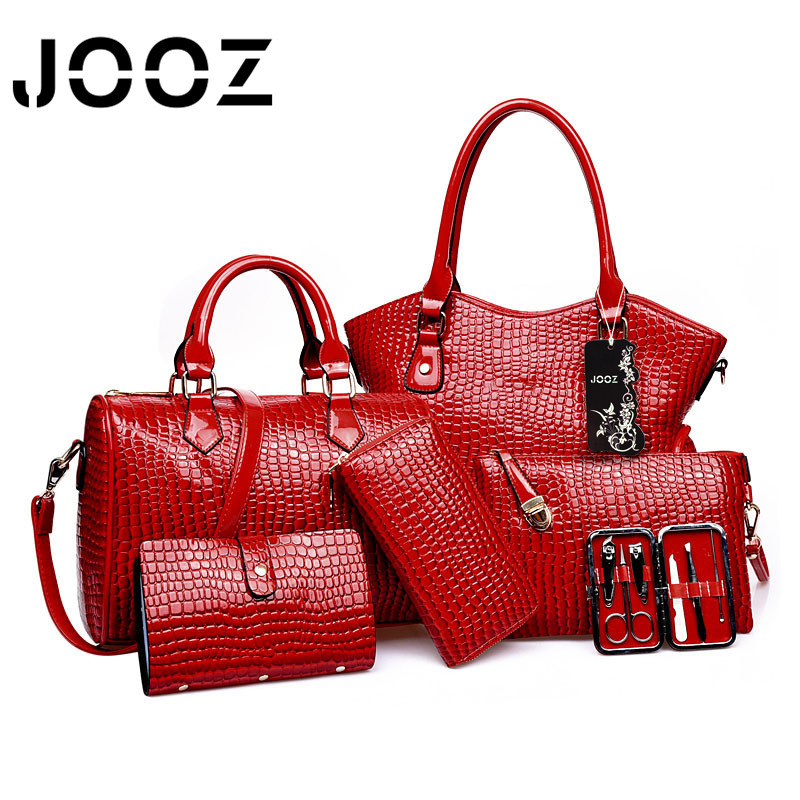 JOOZ Brand Luxury Alligator Lady Handbag 6 Pcs Composite Bags Women Set Trapeze Shoulder Crossbody Bag Coin Purse Clutch Wallet jooz brand luxury belts solid pu leather women handbag 3 pcs composite bags set female shoulder crossbody bag lady purse clutch