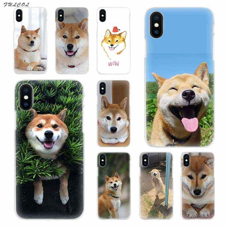 Fulcol Shiba Inu dog Transparent Patterned Hard case Cover for iphone 5 SE  6s plus 7s plus 8 Ten X