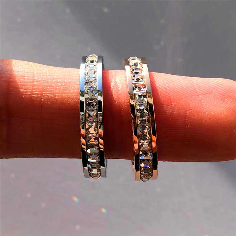 หญิงหรูหราคริสตัล Cz แหวนสแตนเลสผู้หญิงงานแต่งงานแหวนแฟชั่นสัญญา Rose Gold หมั้นแหวน