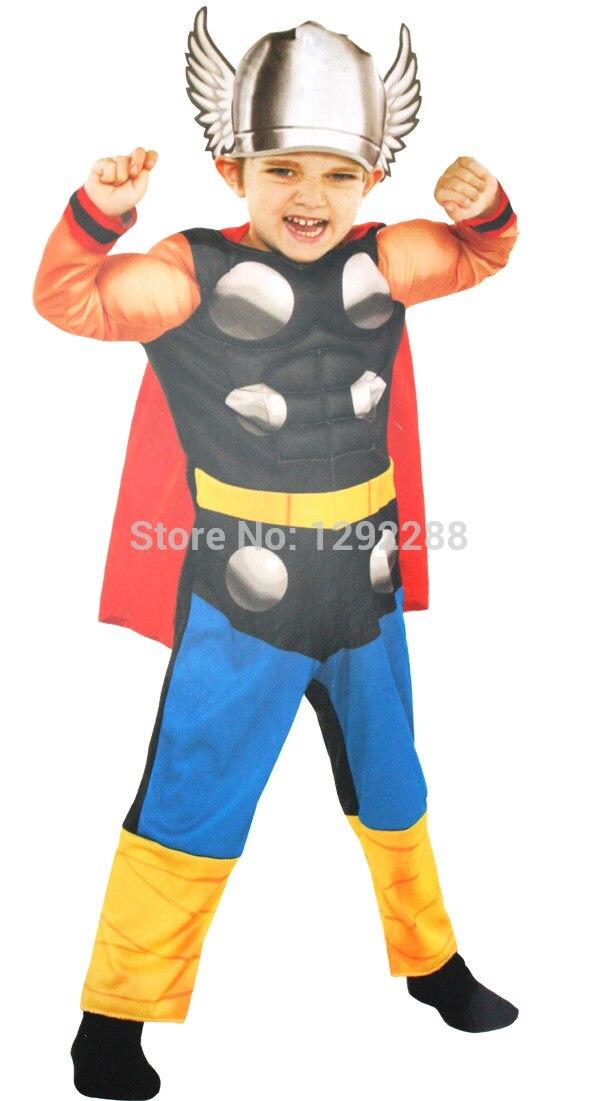 Gastvrij Gratis Verzending, Baby Halloween Cosplay Kostuum De Avengers Superhero Thor Kostuum Kleding Hoed Kostuum Cape