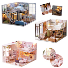 DIY Doll House Miniature Dollhouse With Furnitures LED Light House Model Building Kits Gift Toys For Children L022 #E