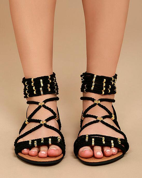 Fashion Black/Gray Rope Straps Women Flat Sandals Sexy Open Toe Ladies Cut Out Gladiator Sandals Concise Style Shoes цена
