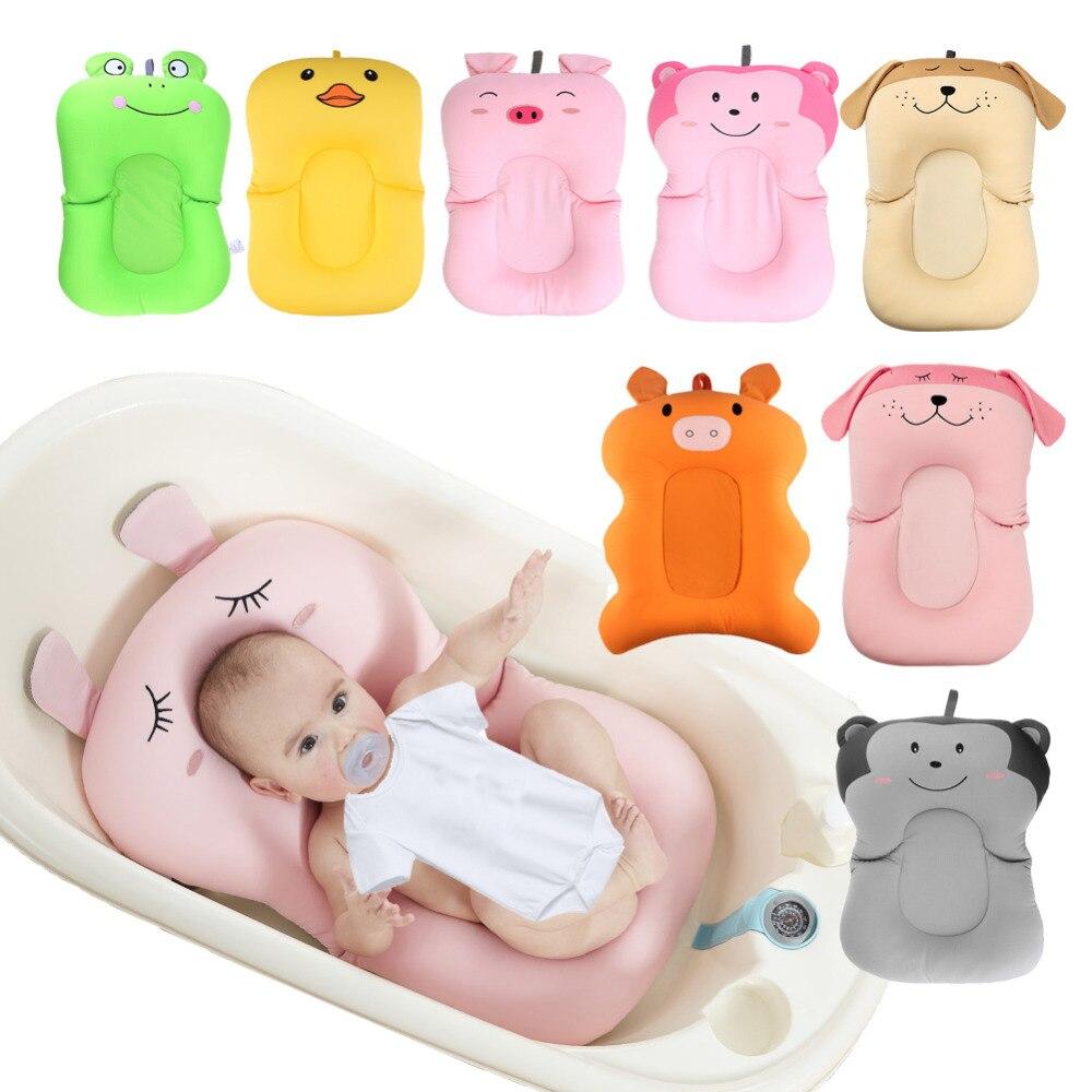 Ducha de bebé portátil cojín de aire cama bebés bebé baño almohadilla antideslizante bañera Mat recién nacido seguridad Baño asiento y respaldo