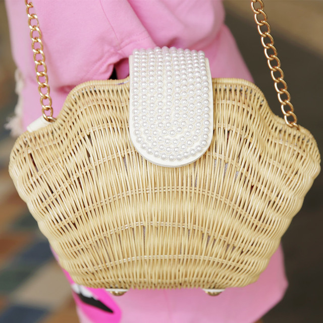 HANSOMFY |Fashion Hand Woven Shell Bag Round Rattan Straw Pearl Bags  Bohemia Style Beach Bag Summer Shoulder Bag Handbag