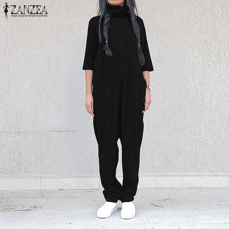 ZANZEA Women's Jumpsuit 2019 Fashion Ladies Crew Neck Back Zipper Up Overalls Long Harem Pants Playsuit Combinaison Mono Mujer