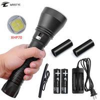 6000lm linterna buceo xhp70 LED buceo antorcha lámpara subacuática luz de flash 100 M impermeable Lámparas Lanterna 18650 o 26650 batería