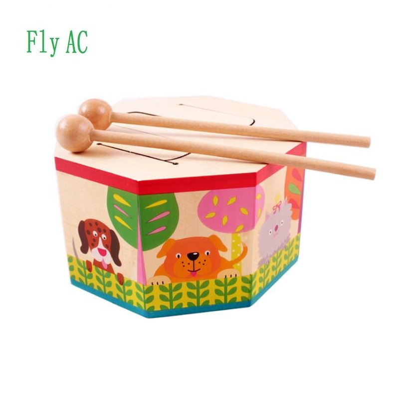 цена на Kids Toys Wooden Drum For Early Education Musical Toys For Children Birthday Gift Toy Musical Instruments
