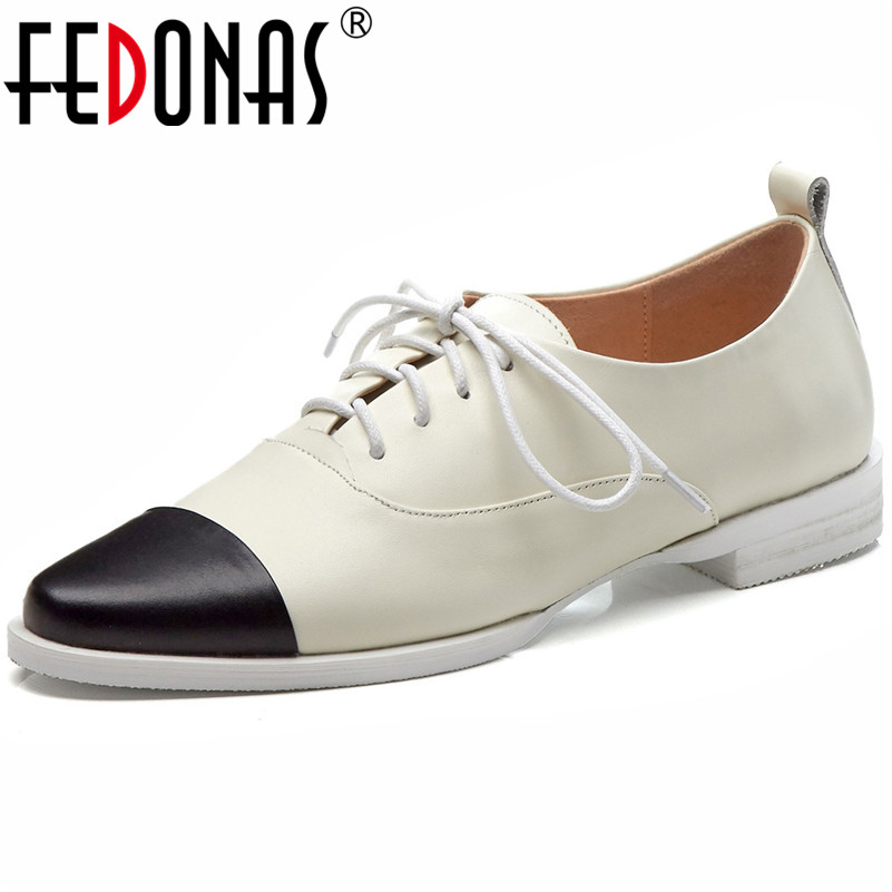 FEDONAS 2019 New High Quality Genuine Leather Women Pumps Fashion Shallow Casual Shoes Concise Vintage High
