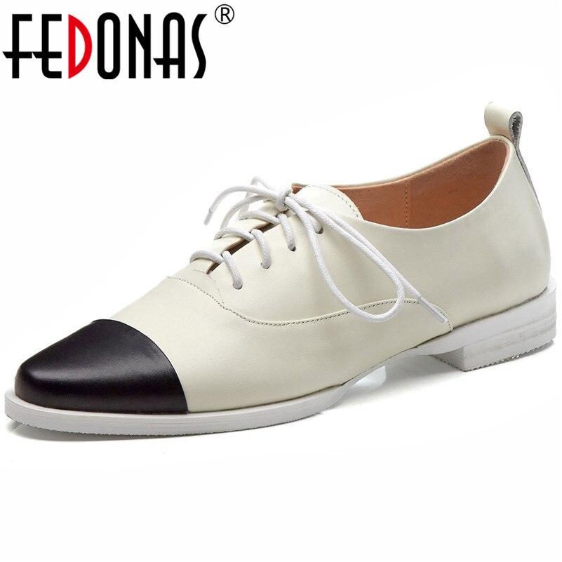 Fedonas 2019 새로운 고품질 정품 가죽 여성 펌프 패션 얕은 캐주얼 신발 간결한 빈티지 하이힐 신발 여성-에서여성용 펌프부터 신발 의  그룹 1