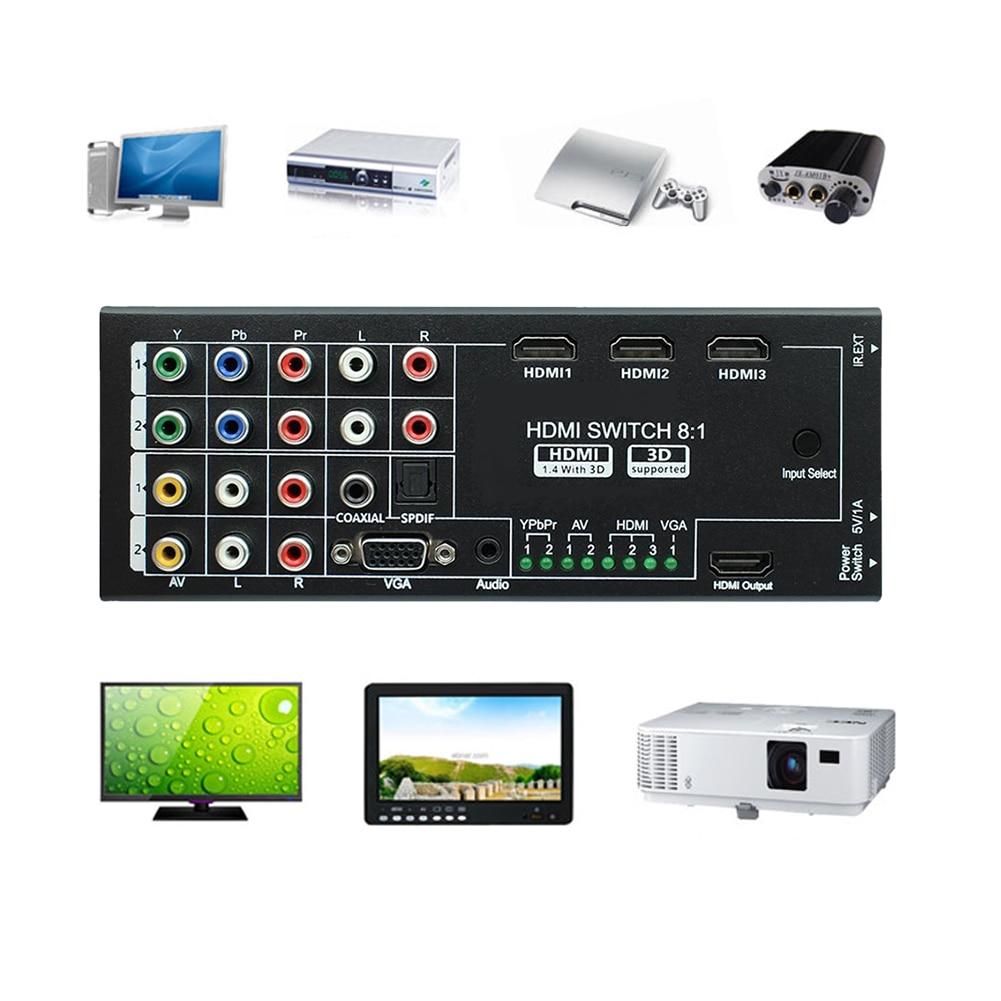 8:1 HDMI Switcher Splitter YPbPR/Vidéo Composante AV VGA 3.5mm Audio Interface avec IR pour XBOX PS3 PC ordinateur Moniteur Routeur
