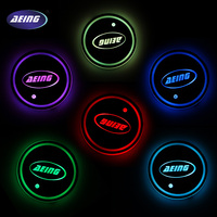 LED Light Multicolor Cup Coaster Lamp For BMW Benz VW Ford Toytoa Renault Skoda Opel Kia