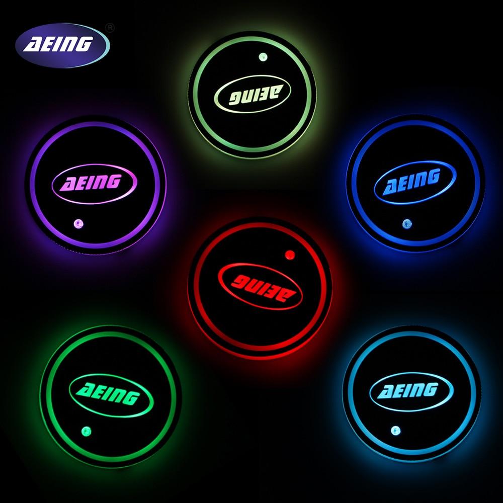 AEING LED Lumière Multicolore Tasse Coaster Lampe pour BMW/Benz/VW/Ford/Toytoa/Renault/Opel/Kia/Peugeot/Audi/Mazda/volvo/Honda/Subaru